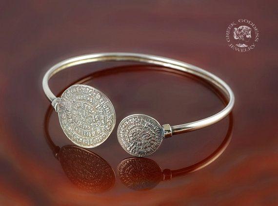 Phaistos Disc silver bracelet antique by GreekGoddessJewelry