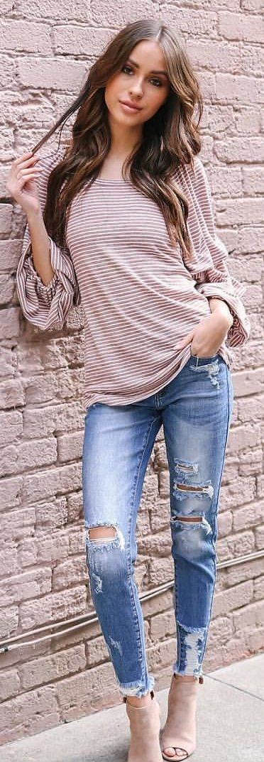 #winter #outfits gray and white stripe long-sleeved shirt