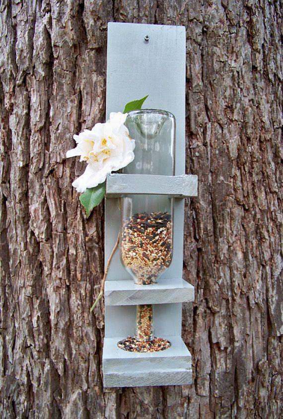 Wine Bottle Bird Feeder Medium Bird Lover Gift by RedFernBoutique