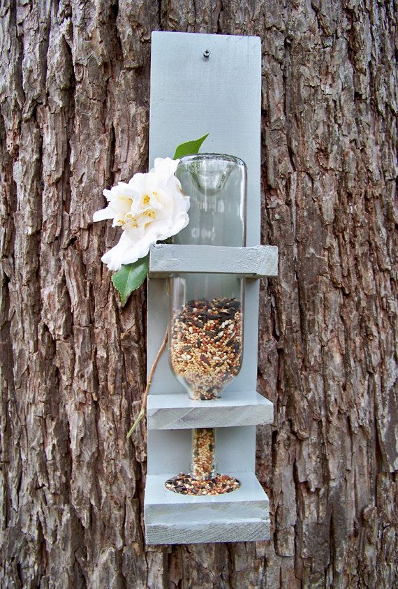 Wine Bottle Bird Feeder Medium Bird Lover Gift by RedFernBoutique