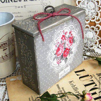 Decoupage Box, Rose, Green Gate, decoupage cozinha, cozinha interior, decoupage, comprou em Moscou, caixas para produtos a granel, obras decoupage, cozinha artesanal, feito à mão