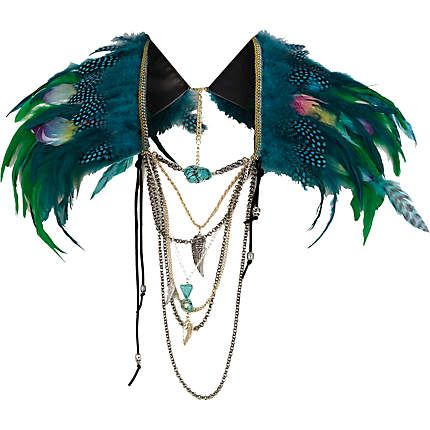 River Island Green statement feather cape - collars / capes - jewellery - women