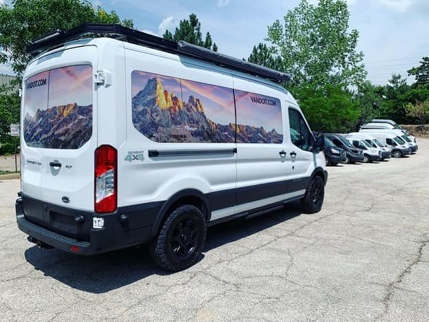 Custom Camper Van With Quigley 4x4 Built By Vandoit On The Ford Transit Passenger Van Ford Transit Ford Transit Camper Custom Camper Vans