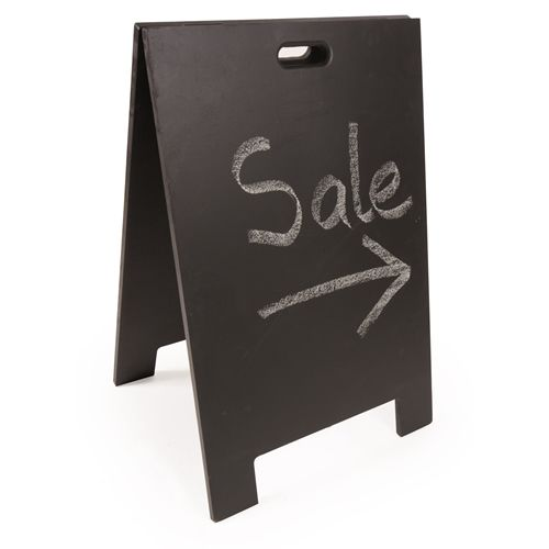 Easily wiped down blackboard sandwich boards let you make creative hand drawn signs and change them on the fly