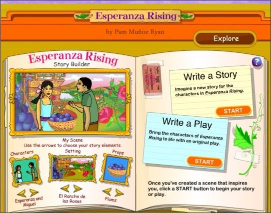 Esperanza Rising online activities from Scholastic - Story Builder, From the Author, Author QA