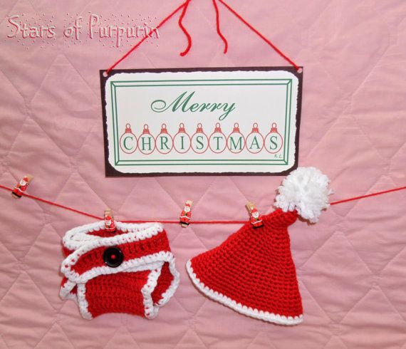 Set Christmas of Santa Claus to Baby. Santa Claus hat + diaper cover. Size 0-3 months