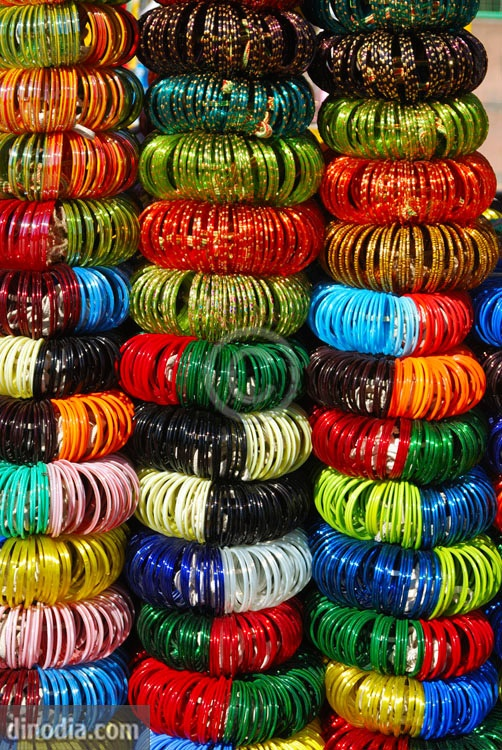 Glass bangles, Jodhpur, Rajasthan, India. One can buy these types generally in any city's(India) definitely at the central markets, in open roadside shops.