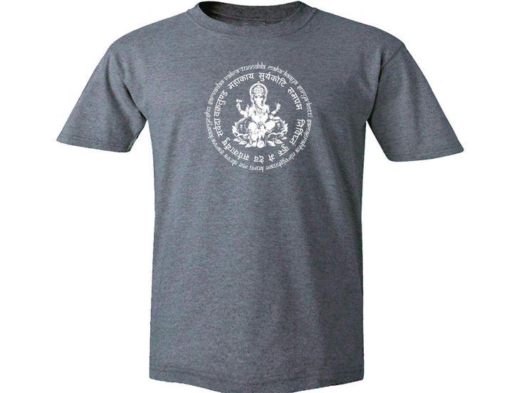 Yoga wear Hindu culture Ganesh Mantra English/Sanscrit gray t-shirt by mycooltshirt on Etsy
