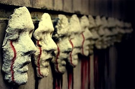 Faces with blood   - I have to find this tutorial; very cool looking for a graveyard