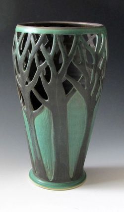 Arts and Crafts style vase by Maid in Clay