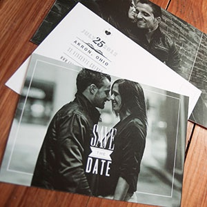 Black and White save the date postcard - opens up revealing cute photo | Amelia Street Studio