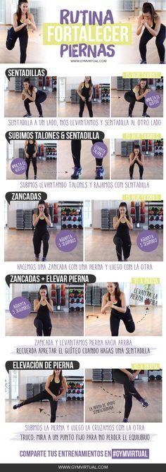 ¡Rutina paso a paso para fortalecer las piernas! Esta rutina es ideal para tonificar y dejar las piernas mucho más fuertes. Trabajamos cuádriceps, gemelos, glúteos y algo de tobillos para fortalecerlos. ¿Quién se anima? Recordad que podéis combinar esta rutina con otras, y que después sería ideal realizar ejercicio cardiovascular, mínimo 30 minutos. ¡Un beso …