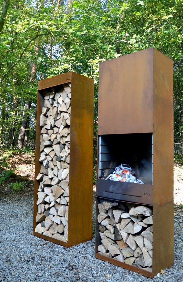 Spotted on ArchiExpo: a Corten steel barbecue that's part weeknight stove, part art object. Above: The K60 Garden Fire & Barbecue from TOLE (The Outdoo