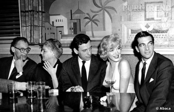 Marilyn Monroe en compagnie d'Yves Montand et de Simone Signoret.