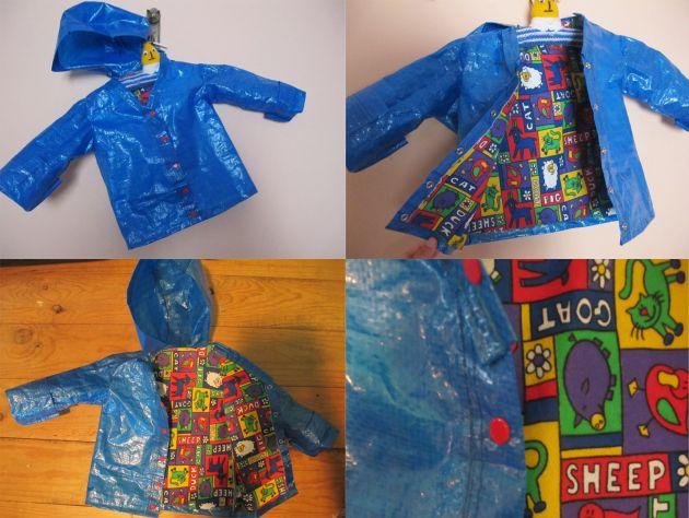 Impermeable para un niño con una bolsa de Ikea