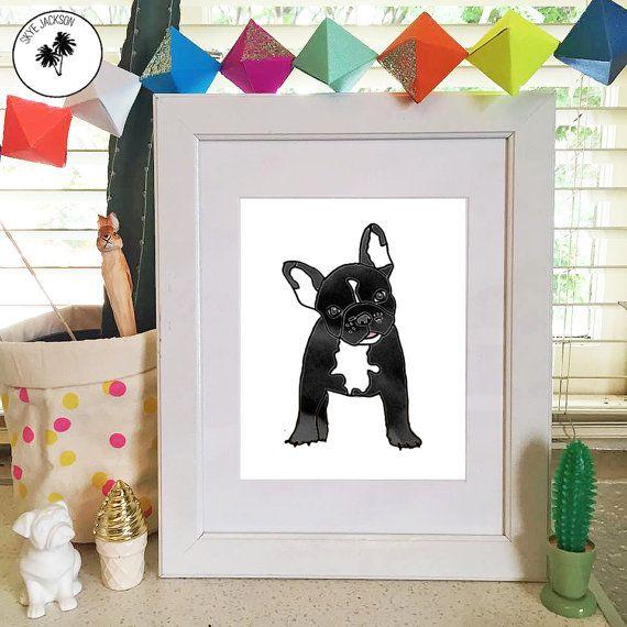 French bulldog black cute pet puppy illustration by SkyeJack