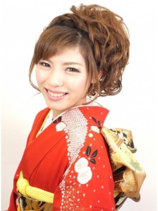 ブリエ☆結婚式スタイル☆編み込み カールのサイドアップ