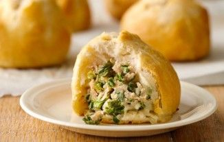 16 Serving 4 Smartpoints Ingredients 6 oz ground pork 1 1/2 teaspoons soy sauce 1 1/2 teaspoons sesame oil 1 teaspoon Watkins™ Ground Ginger 1 3/4 cups finely chopped Chinese (napa) cabbage 1/3 cup finely chopped fresh garlic chives or chives (1-oz package) 1 can Pillsbury Grands Flaky Layers refrigerated original biscuits (8 biscuits) Instructions 1- Heat oven to 350°F. Line large cookie sheet with Reynolds® Parchment Paper. 2- In medium bowl, mix pork, soy sauce, oil, gi...