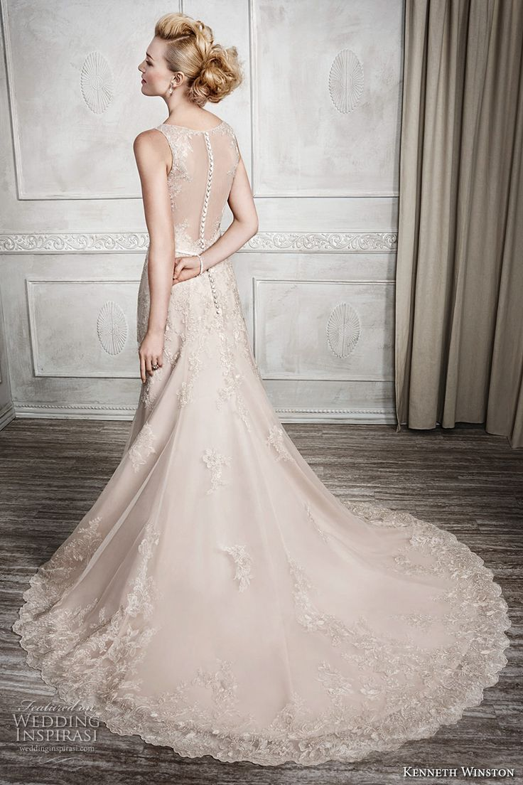 kenneth winston fall 2016 bridal sleeveless illusion boat v neckline heavily embellished bodice beautiful princess gold color a  line wedding dress illusion back chapel train (1665) bv