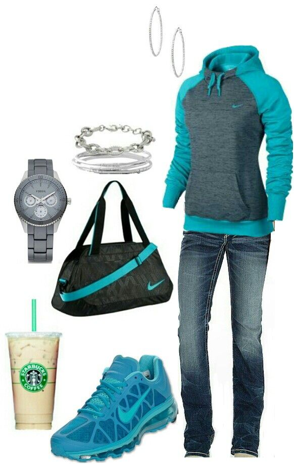 Aqua Nike casual outfit find more women fashion on www.misspool.com...the sweatshirt, shoes, and watch.