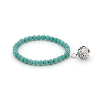 Harmony Ball Bracelet - CHILD SIZE TURQUOISE - Bella Donna Sterling Silver.  Little girls can have their very own harmony ball bracelet too!  A tiny sterling silver harmony ball in a bracelet of Turquoise beads.
