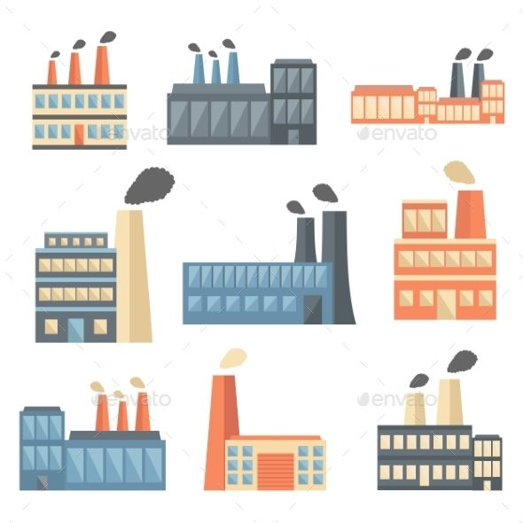 Set Of Flat Factory Icons Factory Icon Illustration Icon Illustration