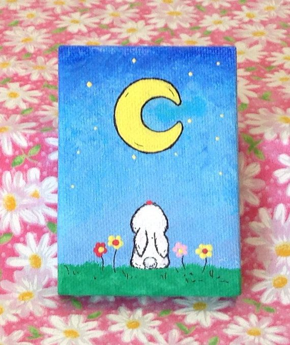 Children's art - Bunny gazing at the moon on a star lit night mini canvas bunny art painting, acrylic 2.5 x 3.5 canvas by MahinaBunnyCreations on Etsy