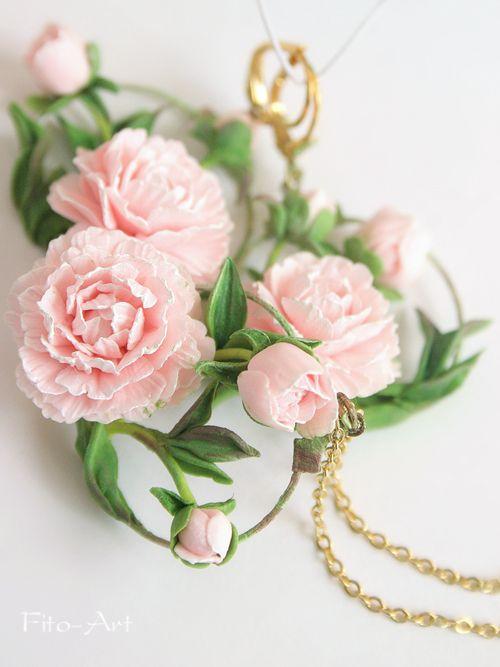 """Flores hechas a mano - Pendientes y colgante con peonías """"Jardín del Edén"""""""