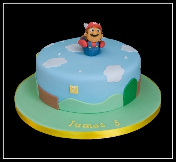 Mario Bros themed bithday cake