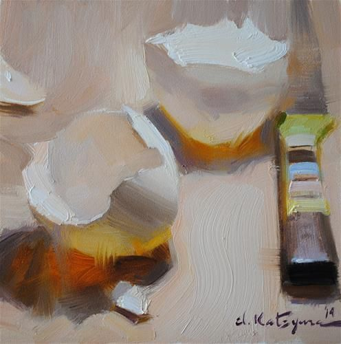 """Daily Paintworks - """"Shell Shadow"""" by Elena Katsyura. Such an incredible still life painter!"""