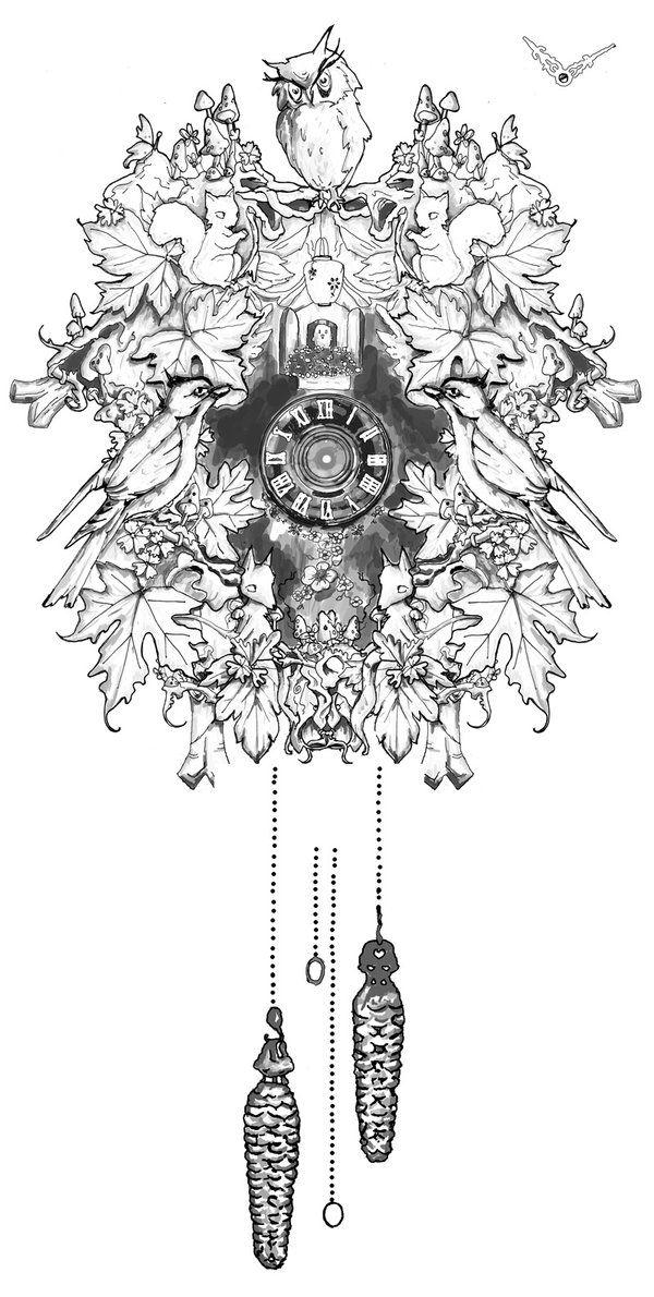 cuckoo clock tattoo design.