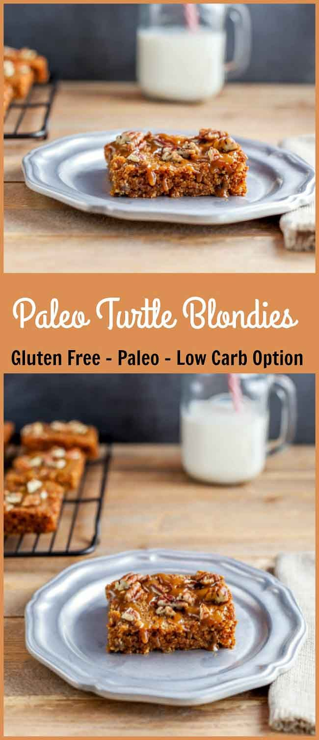 Paleo Turtle Blondies- grain free, paleo and low carb chocolate chip blondie bars with caramel and pecans. YUM!