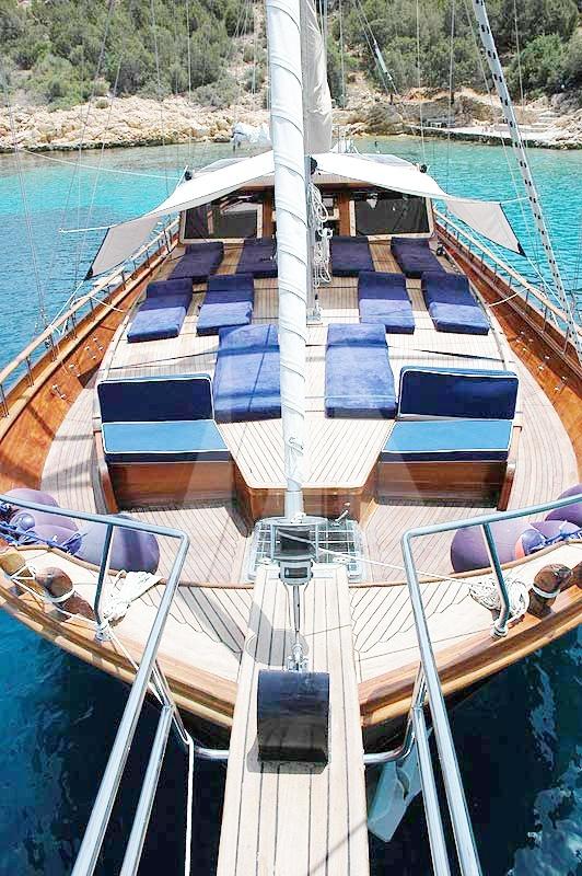Large sundeck of M/S Trippin luxury gulet, blue cruise, blue voyage