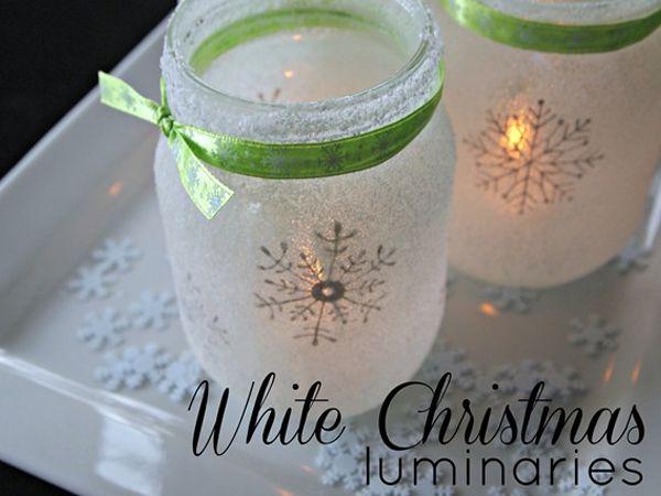 DIY Mason Jar Christmas Crafts: White Christmas Snowflake Luminaries Tutorial http://putitinajar.com/crafts/
