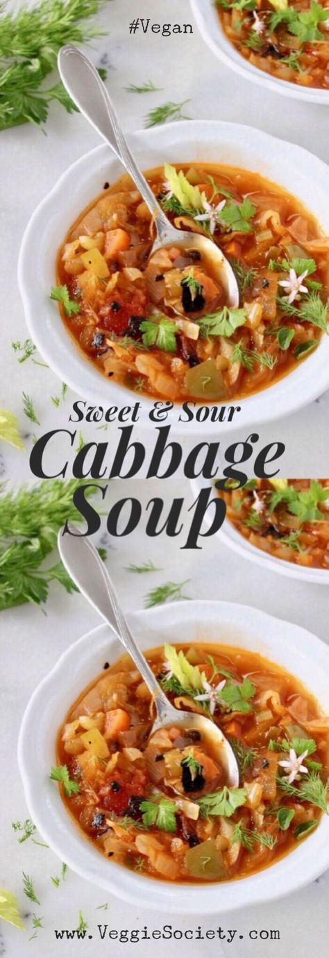 Simple Sweet and Sour Cabbage Soup Recipe with Fire Roasted Tomatoes and Smoked Paprika   VeggieSociety.com #vegan #wfpb #soup #cabbage