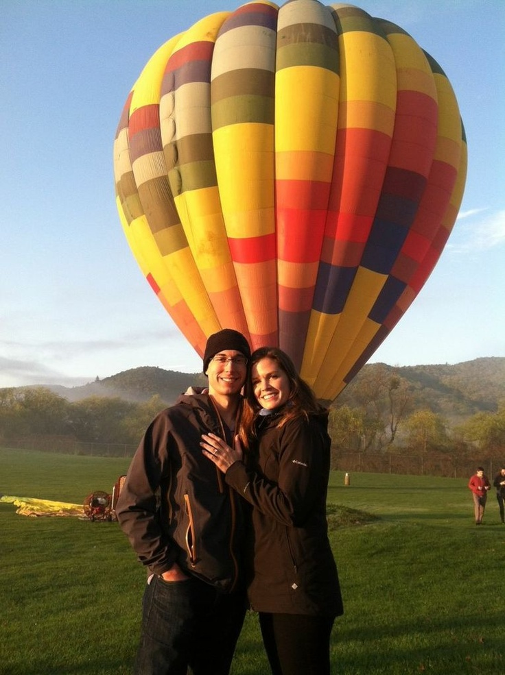 Customer photo: The future Mr. and Mrs. Macdonald with a Brilliance ring and a hot air balloon! How romantic is that? :)