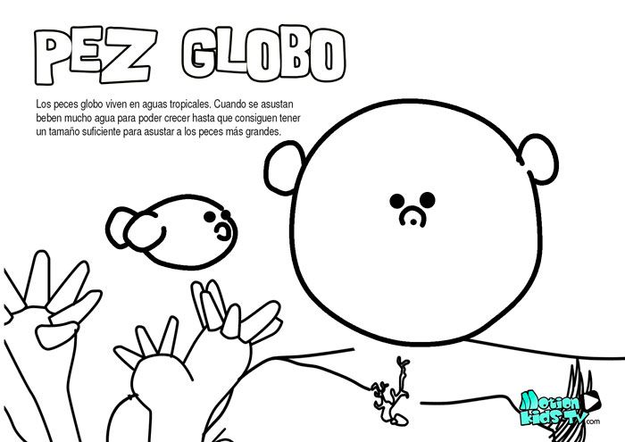 Pez globo, dibujos colorear peces. Recursos educativos animales
