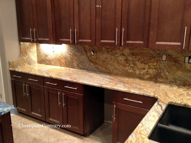 Yellow River Granite - full backsplash with