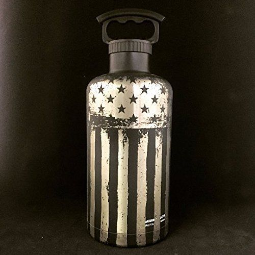 Military, Marines, Flag, Growler, Beer Growler, FiftyFifty, 64oz Growler, Army, Navy, Air Force,. 64oz Stainless steel beer growler engraved with Distress flag.