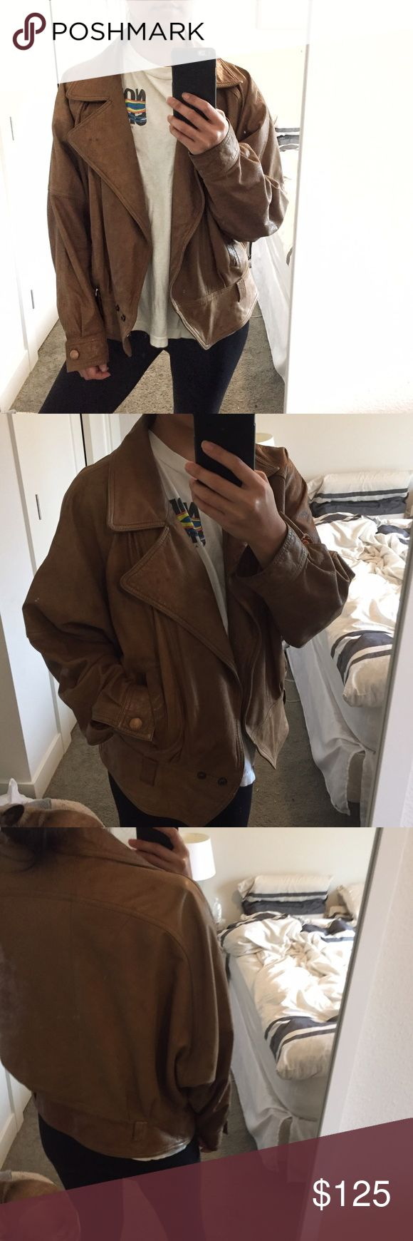 """Sale! Vintage Winlit Leather Moto Jacket Super rad one of a kind leather jacket with a motorcycle feel to it w/ large collar and slight bat winged arms. In love with this, it's soft leather not stiff like some vintage leather. I'm a size S and 5'4"""" for reference. Could fit a M-L as well depending on desired fit. Has some normal signs of wear from over the years, mostly some discoloration marks shown in photos - on the back very faint scratches in upper right pic - hard to see. Adds to the…"""