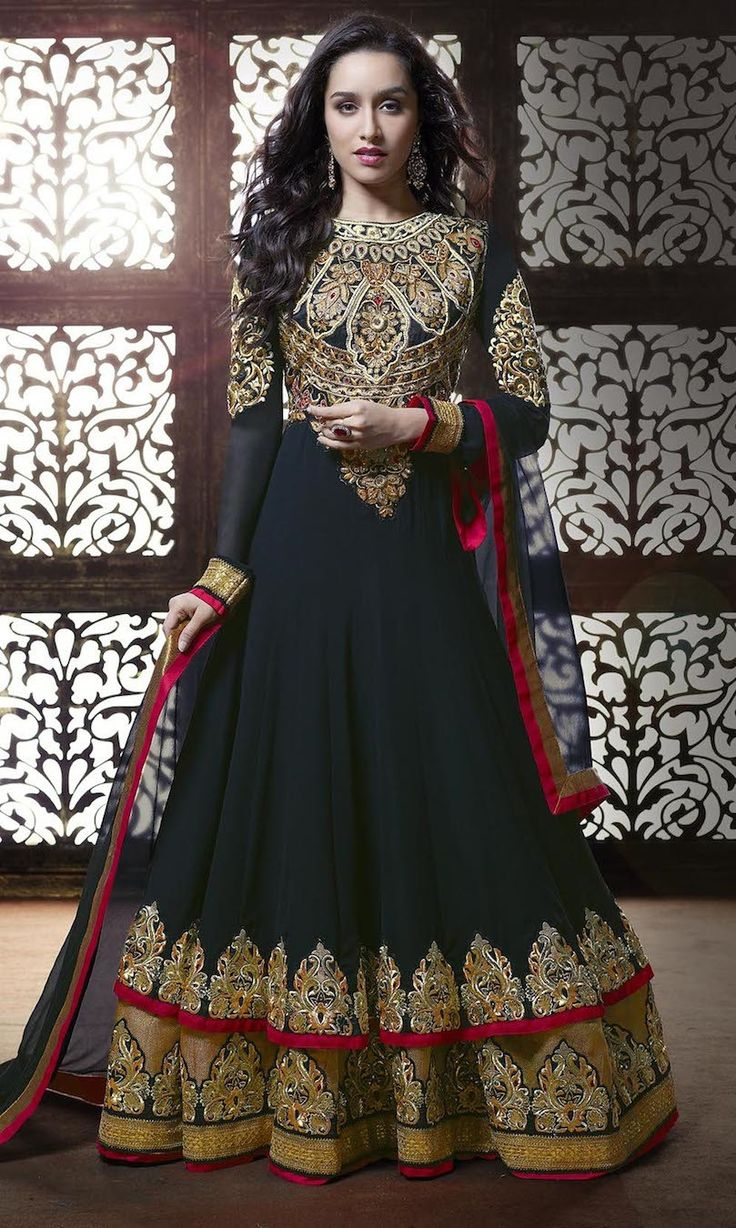 Shraddha Kapoor Navy Blue And Gold Embroidered Anarkali