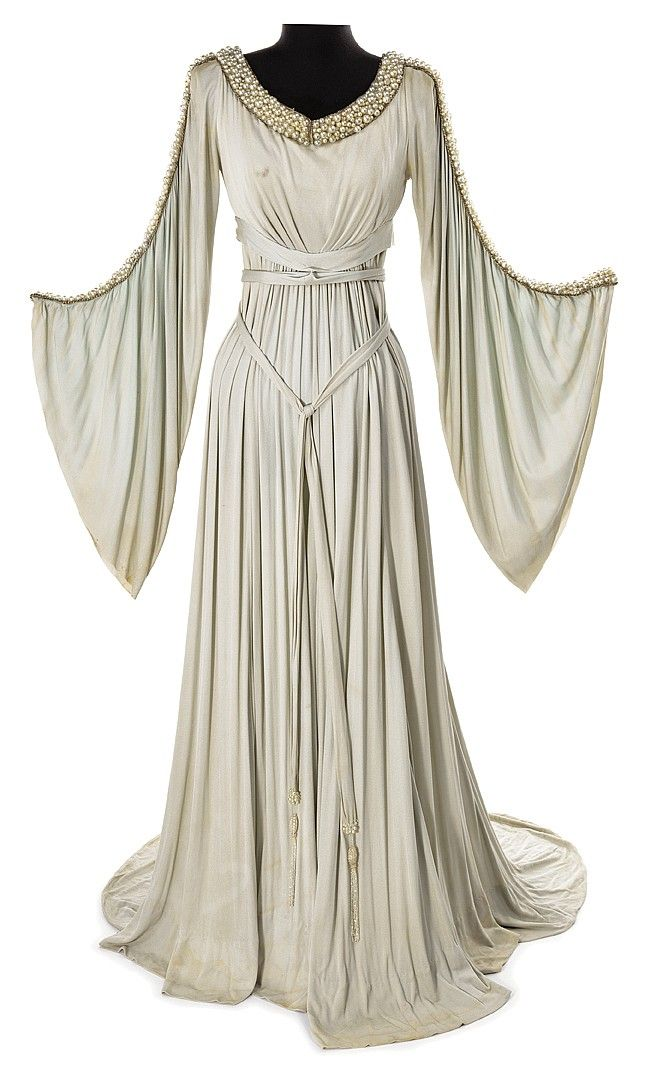 Grey crepe period dress purchased at the 1970 MGM auction. (MGM, ca. 1935) flowing sleeves adorned with faux pearls