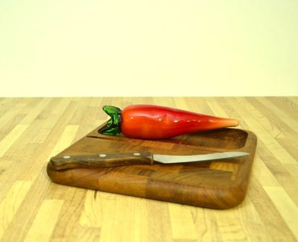 Midcentury Modern Denmark Kalmar Designs Teak Wood Cutting Board with Knife by VintageRescuer on Etsy