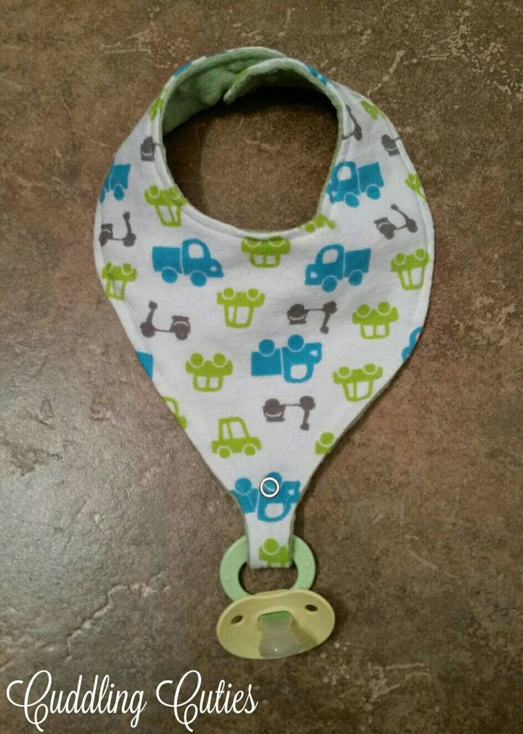 Flannel and Minky Reversible Trucks and Cars Pacifier/Binky Bib by cuddlingcuties on Etsy