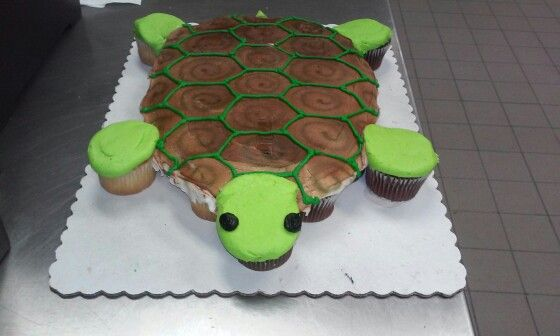 Sea Turtle cupcake cake                                                                                                                                                     More