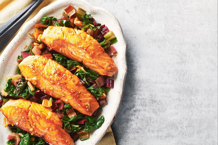 Soy-Maple Glazed Salmon and Swiss Chard | .canadianliving.com