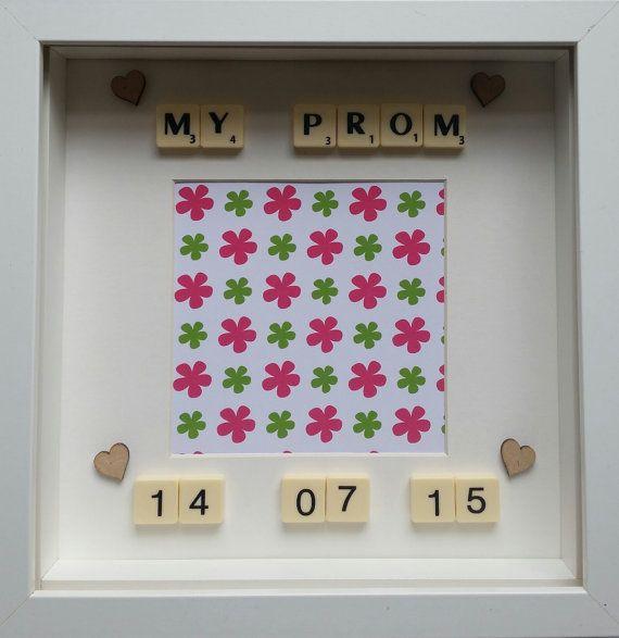 My prom personalised date high school college prom decor photo frame personalised scrabble family White box frame keepsake frame handmade