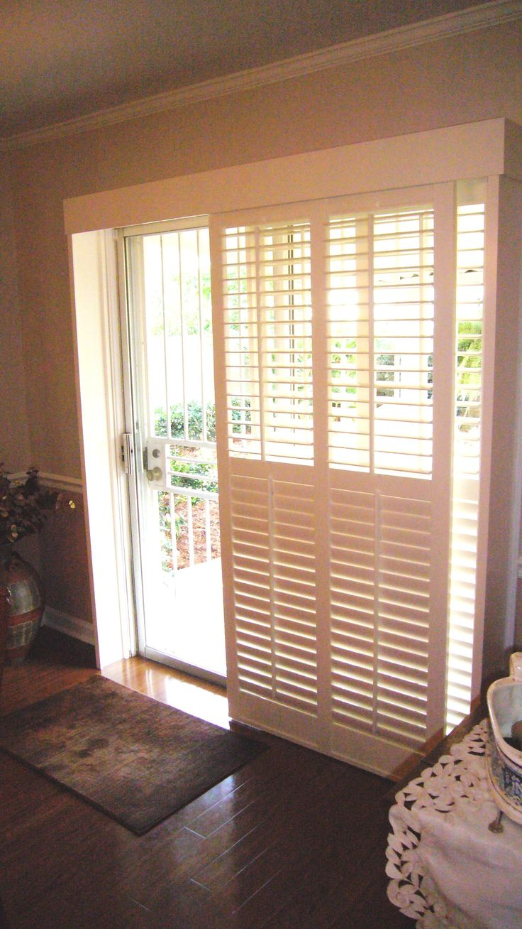 "Ikea Plantation By-pass Shutters With 2 1/2"" Louvers For A Patio Door"