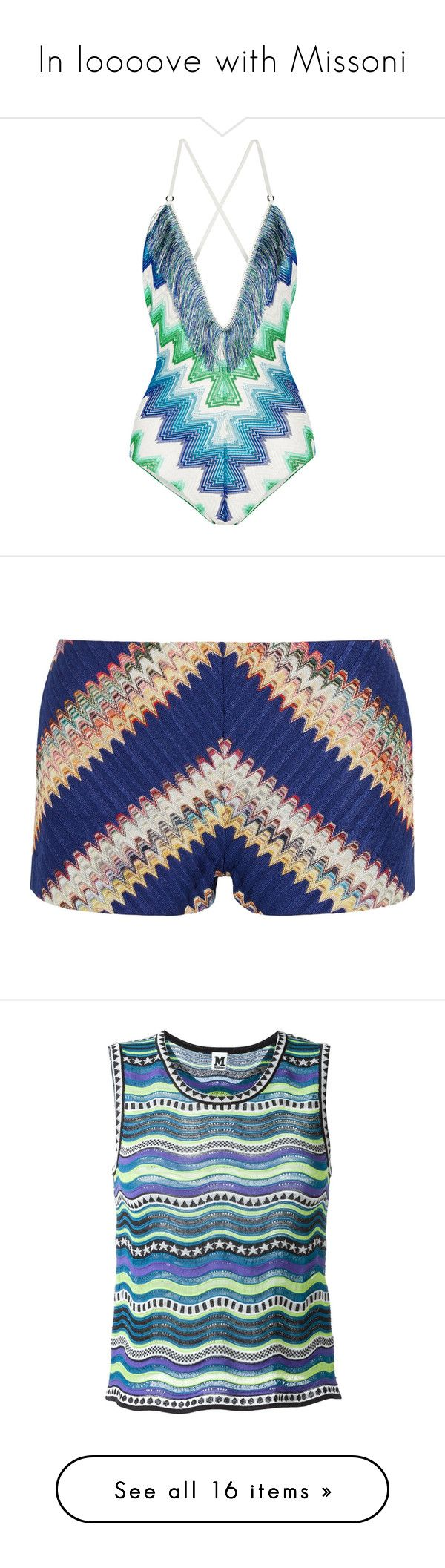 """""""In loooove with Missoni"""" by elisaesmann ❤ liked on Polyvore featuring swimwear, one-piece swimsuits, chevron one piece swimsuit, lace up swimsuit, swim suits, bohemian bathing suits, boho fringe bathing suit, shorts, missoni and blue"""