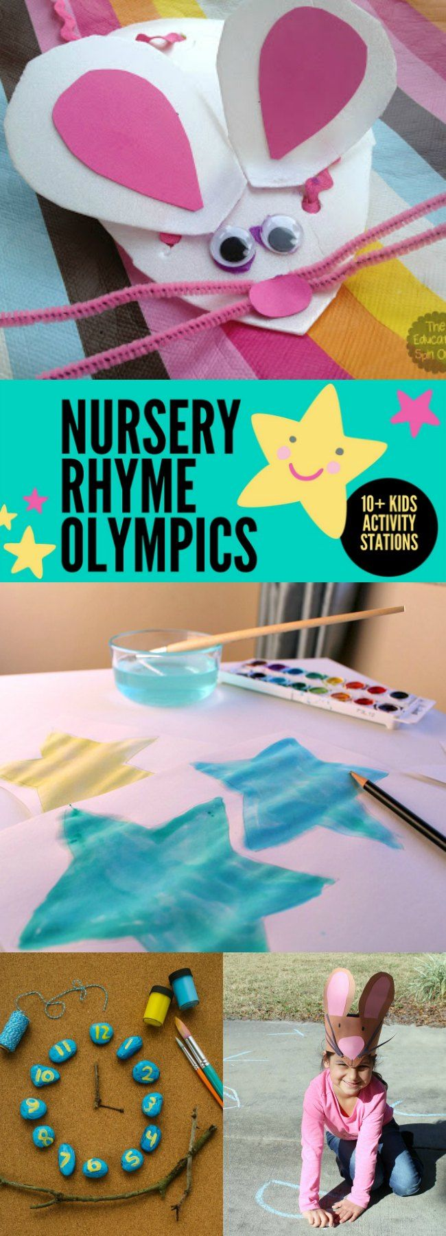 Nursery Rhyme Activity Ideas inspired by your favorite Mother Goose rhymes. Host a week of fun or a playdate with stations with these fun and simple nursery rhyme themed ideas for preschoolers.